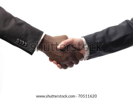 African businessman's hand shaking white businessman's hand