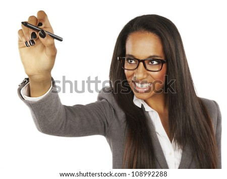 African Businesswoman writing or drawing with pen on copy space