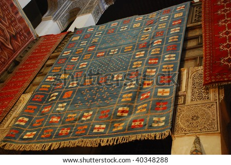 african carpet background detail in morroco