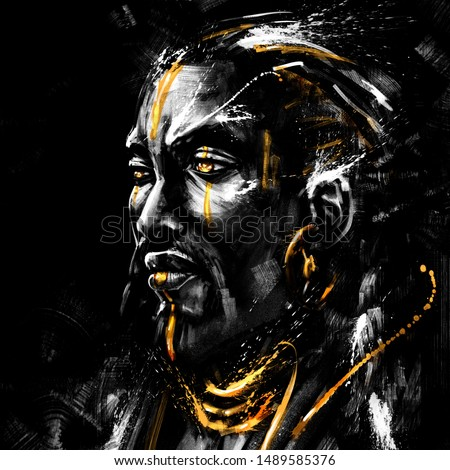 African chief with Golden eyes and patterns on his face. 2D Illustration.