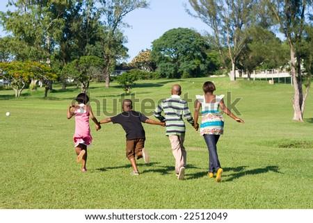 African children running in the park stock photo 22512049