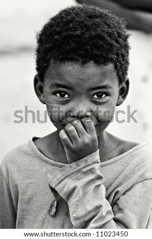 African children, social issues, poverty, black and white version