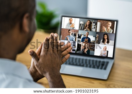 African Clapping In Virtual Video Conference Call On Computer