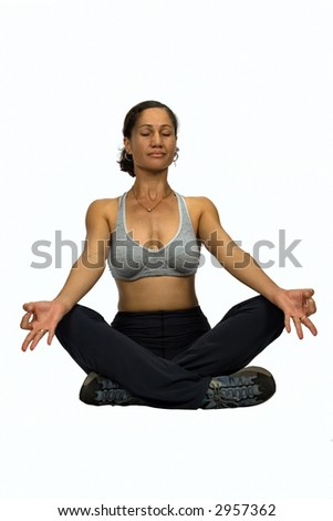 African, colored mid age woman trainer , yoga training, sporty look, isolated
