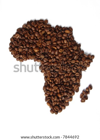 African continent map made from coffee beans. Originally, coffee came from Africa.