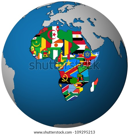 african countries territories with flag on map of globe isolated over white
