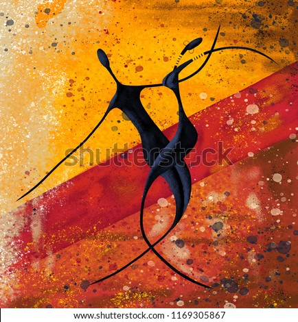 African couple dance on the floor digital painting canvas artwork
