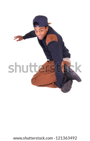 African dancer breakdance jumping isolated over white background