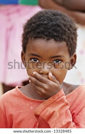 African deprived child in a village near Kalahari Desert
