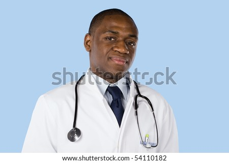 African doctor with a stethoscope around his neck isolated on blue