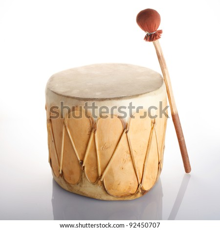 African Drum Isolated on White Background