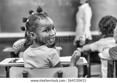 African girl at primary school.