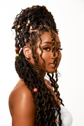 African Girl With Color Braids