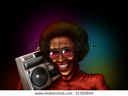 African guy with retro tape recorder in lights