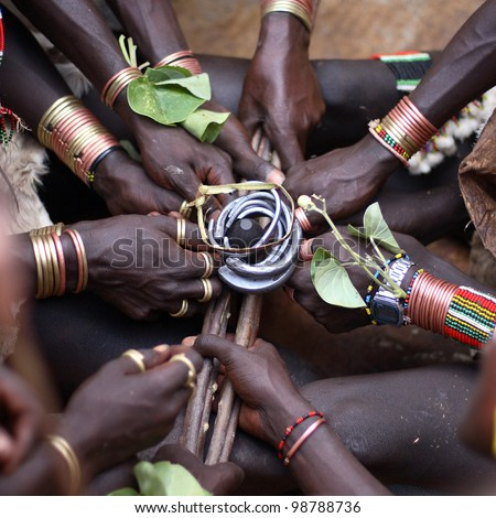 African Hamer ceremony, close-up of hands