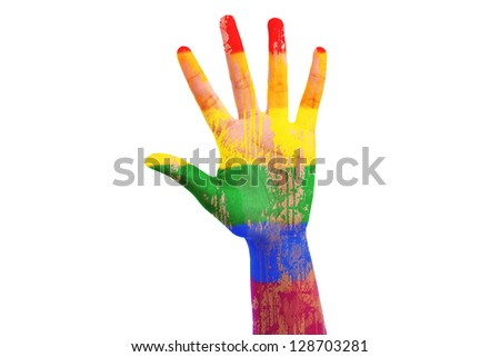 African hand with a painted lgbt flag, isolated on white background