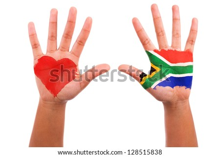 African hands with a painted heart and south african flag, i love south africa concept, isolated on white background