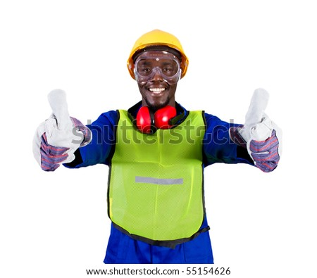 african industrial worker giving thumbs up