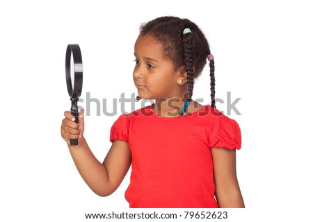 African little girl looking through magnifying-glass isolated on a over white