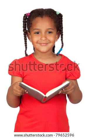African little girl reading a book isolated on a over white