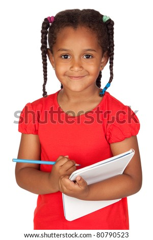 African little girl with a notebook isolated on a over white