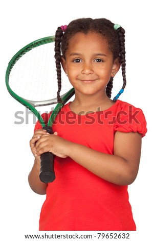 African little girl with a tennis racket isolated on a over white