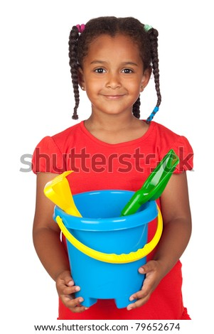 African little girl with beach toys isolated on a over white