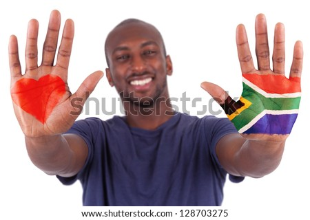 African man hands with a painted heart and south african flag, i love south africa concept, isolated on white background