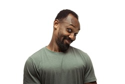 African man isolated on white, meme emotions, funny