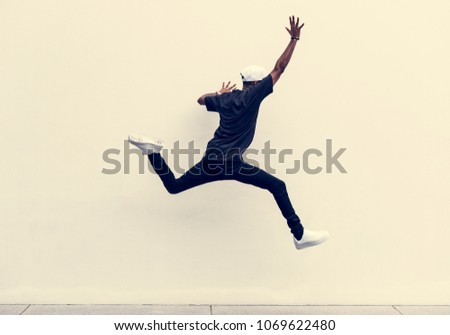 African man jumping #1069622480