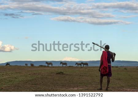 African Masai Tribe in Local traditional dress in open landscape of Masai Mara wildlife Savannah in Kenya
