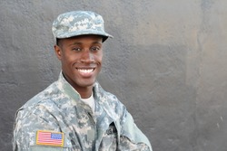 African military male smiling and laughing