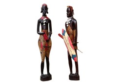 African natives figurines isolated on white background