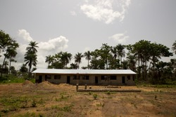 African primary school under construction in Sierra Leone, Africa