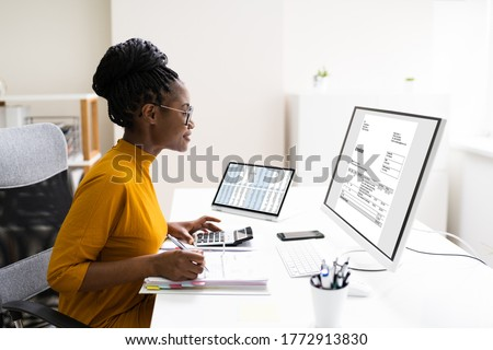 African Professional Chartered Accountant Woman Doing Tax