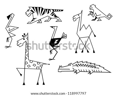 African savanna animals set in cartoon style, such a logo. Vector version also available in gallery - stock photo