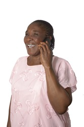 African senior grandmother with cellphone, Studio Shot