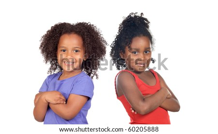 African sisters children isolated on a over white background