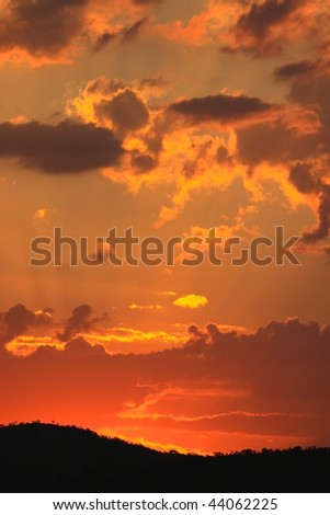 African sunset - stock photo