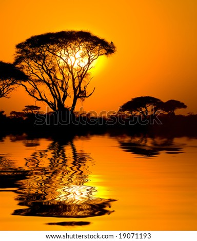 african sunset with reflection, kenya