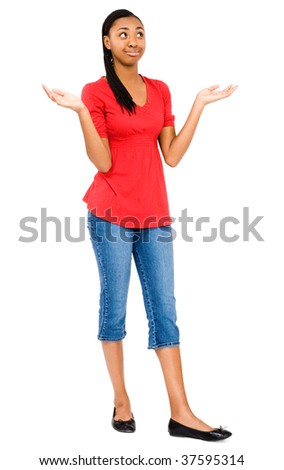 African teenage girl posing and gesturing isolated over white