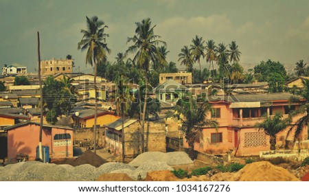 african town. matte background. ...