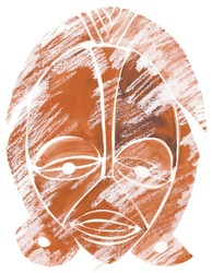 African tribal mask made watercolor