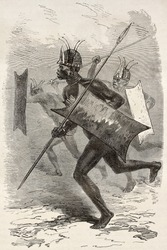 African warrior old illustration (southern Sudan region). Created by Neuville, published on Le Tour du Monde, Paris, 1867