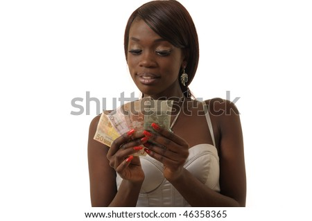 African woman counts money