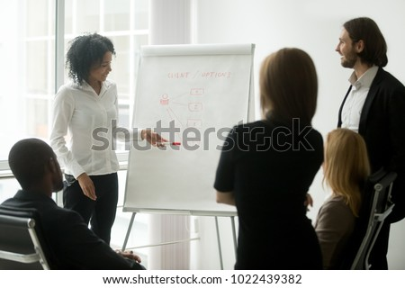African woman employee or successful marketing manager gives presentation at sales team meeting, black coach explaining colleagues new idea about client management at group corporate office training