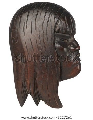 African wooden female mask