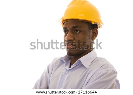 African worker with a serious expression isolated on white