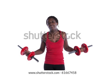 african young woman exercising her muscle with dumbbell (isolated on white)