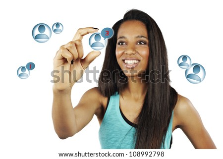African young woman pressing Social Network icon - isolated